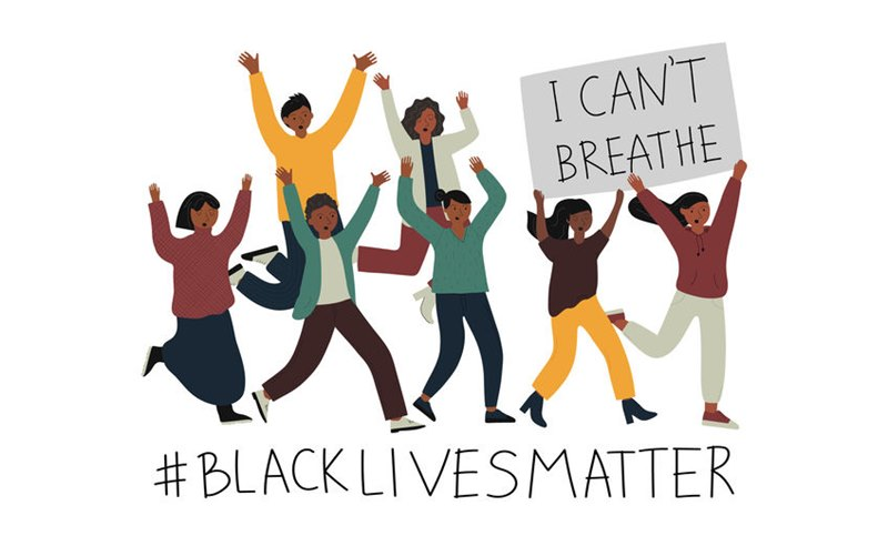 Rasism concept. Illustration with ranning young afro american people holding a placard with text I can't breathe. Idea of demonstration for racial equality. Flat vector illustration